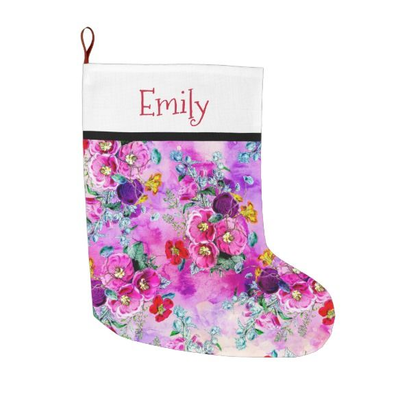Spring vintage floral pink purple chic watercolor large christmas stocking #stocking #christmas #sock #xmas