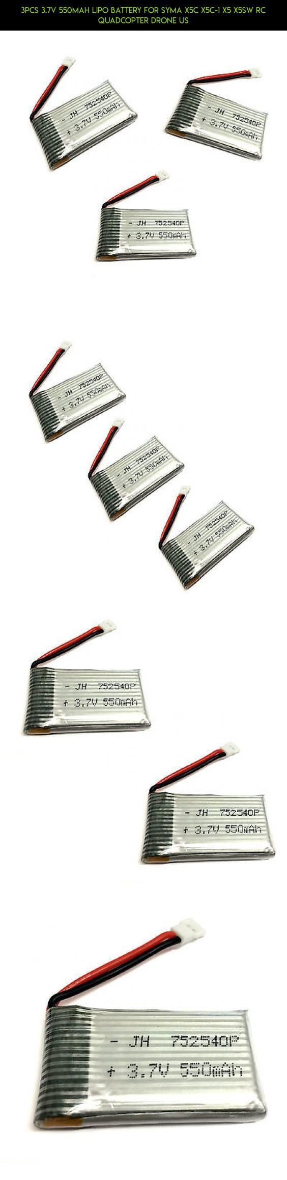 3pcs 3.7V 550mAh Lipo Battery For Syma X5C X5C-1 X5 X5SW RC Quadcopter Drone US #technology #products #racing #camera #drone #kit #gadgets #drone #fpv #tech #parts #battery #plans #shopping #syma
