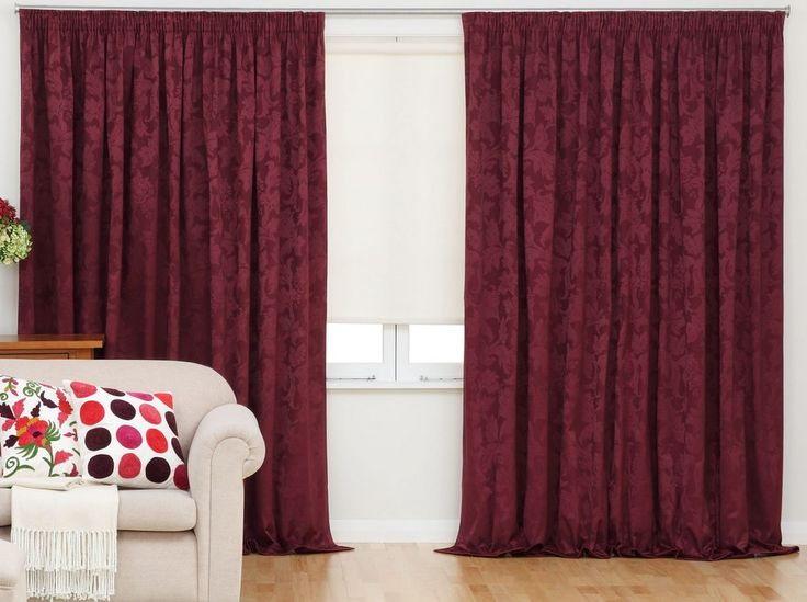 Amelia Burgundy Readymade Thermal Blockout Pencil Pleat Curtains