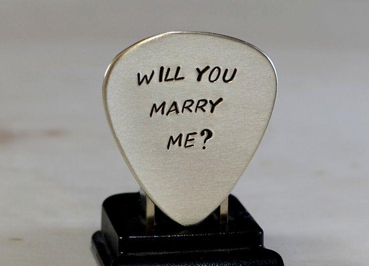 Guitar Pick Marriage Proposal Handmade in Sterling Silver by Nici Laskin