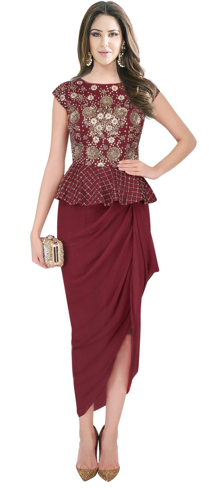 478507: Red and Maroon  color family  stitched gown .
