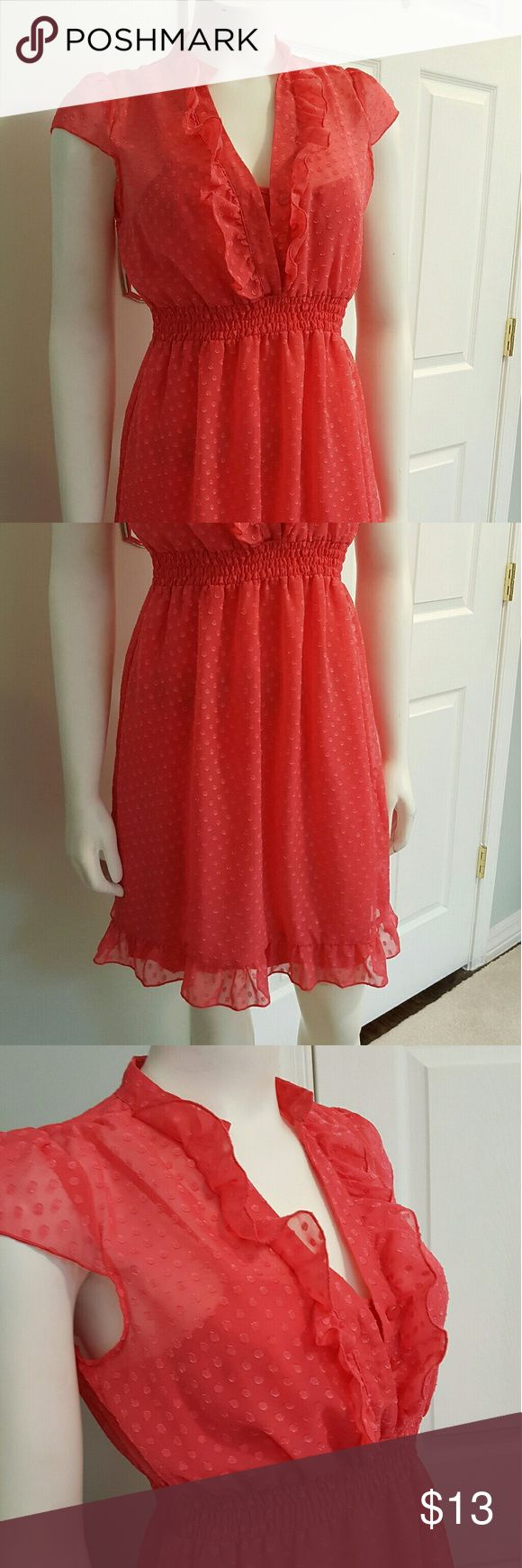 Sam & Max size M Salmon colored sheer  with connected cami dress Pullover with ruffle neck line Cap sleeve  Elastic fitted waist  Super cute.  Great condition Sam & Max  Dresses