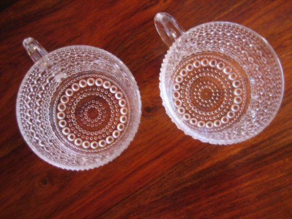 1960's / 1970's Kastehelmi dewdrop clear glass cup set; my sister-in law has these :)
