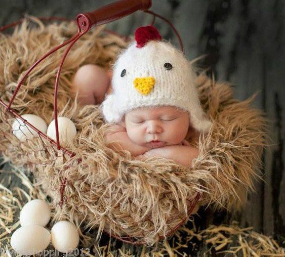 Newborn Baby Chicken Infant Knitted Crochet Costume Photo Photography Prop L64