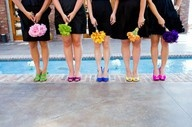 My bridesmaids will be the same, black dresses with bright flowers and different shoes!