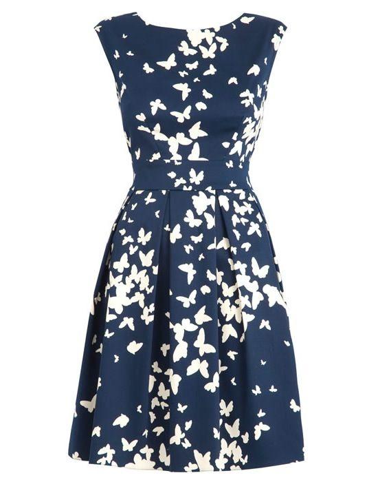 Closet Chelsea dress, navy butterfly
