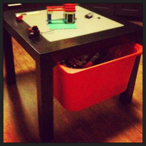 Lego table with storage box. Made from a $10 Ikea side table, Trofast storage box and a couple of sliders. Holds a lot.