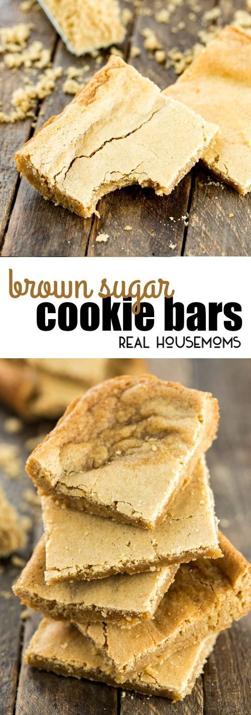 These Brown Sugar Cookie Bars are a great, quick dessert for the family with brown sugar and cinnamon for a warm flavor that works perfectly with a scoop of vanilla ice cream on top! via @realhousemoms