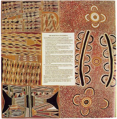 The Barunga Statement called on the Australian Government to recognise the rights of Indigenous land owners and to formalise a Treaty with them. It was bordered with Yol\u and central Australian designs, and was modelled on the Yirrkala Petition (1963) which the previous generation of Yolngu leaders had sent to the House of Representatives in protest against mining on the Gove Peninsula. Galarrwuy and Mandawuy's own father was a signatory to this petition.