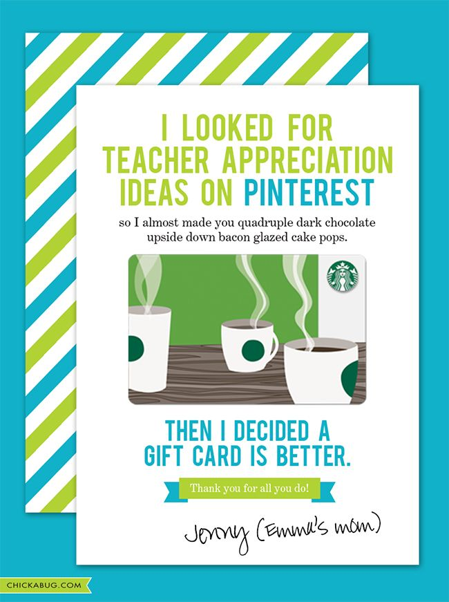 Bwahahaha!! This THE BEST teacher appreciation gift out there. I know what my kids' teachers are getting this year. #chickabug #freeprintables