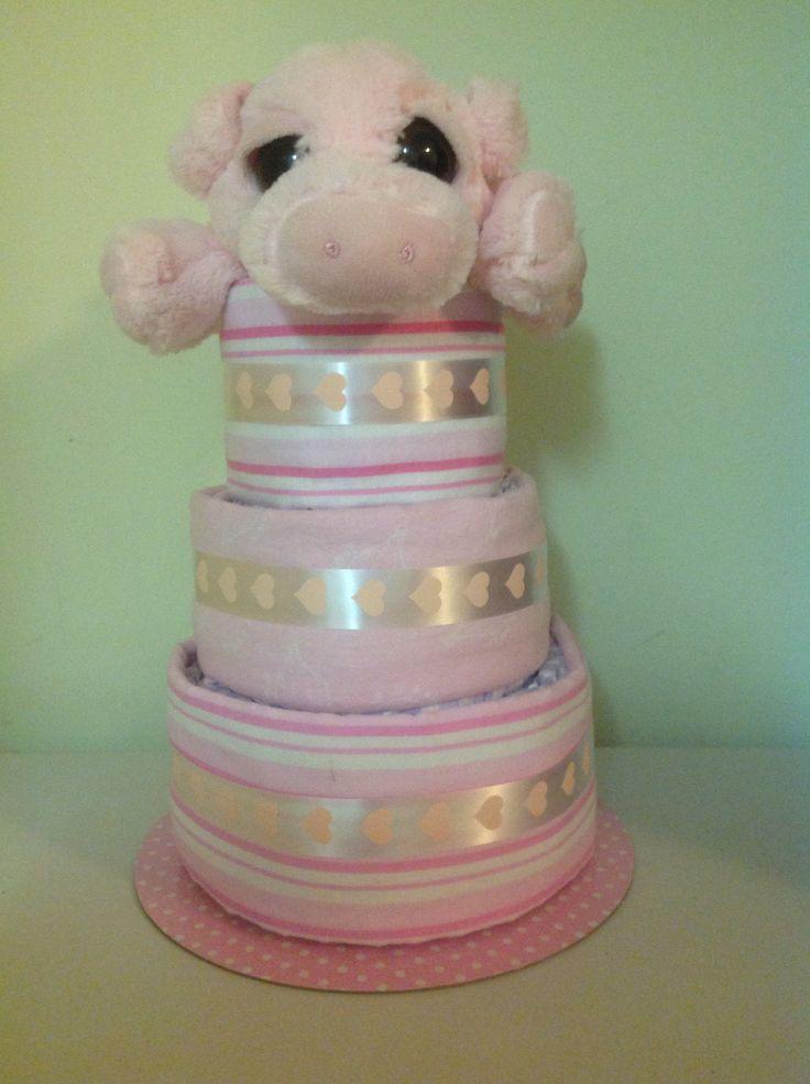 3 tier girl nappy cake   Www.facebook.com/amandascreativecreations