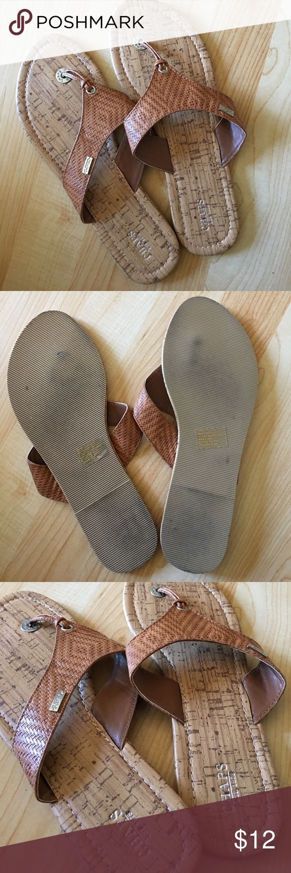Chaps Ralph Lauren Thong Brown Sandals Aztec Like new condition upper, slight wear as shown to bottom. Buy with confidence I'm a top 10% Poshmark seller! Chaps Shoes Sandals