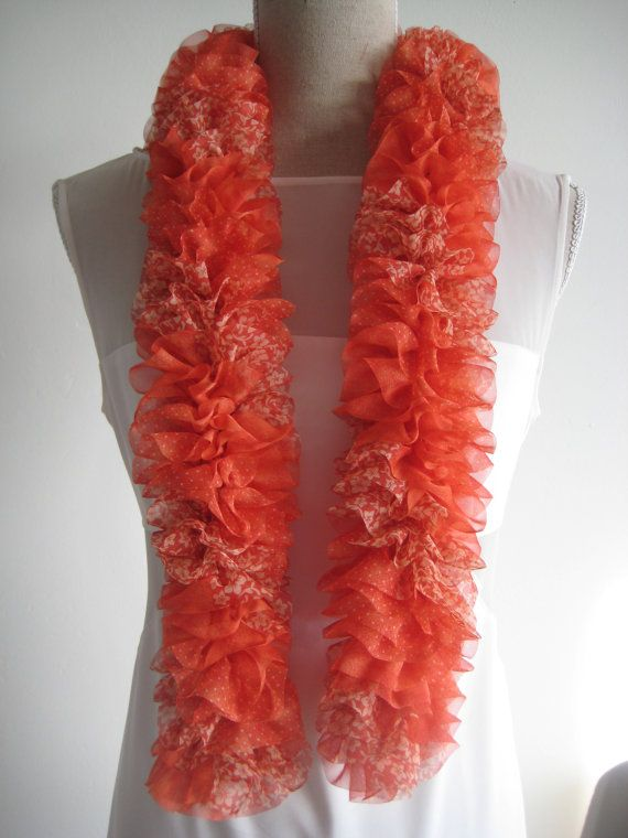 On Sales disc 50 Ruffle Scarf  Red Tomato  by MinnieCreation, €38.75