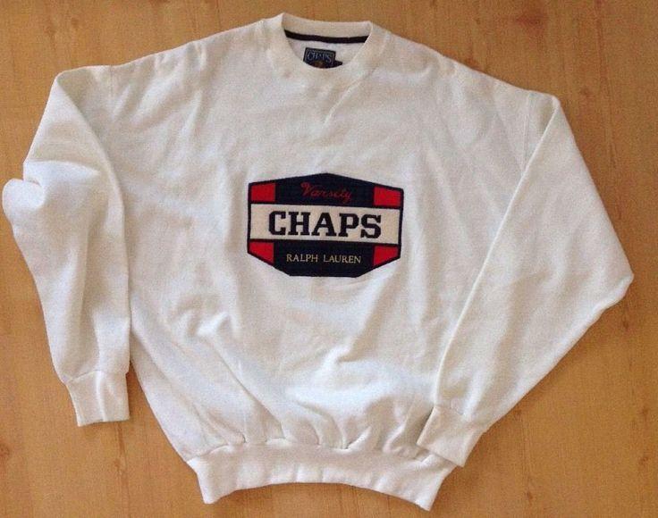CHAPS Ralph Lauren Varsity Crest Sweatshirt Ivory White Men's Large NEW #RalphLauren #SweatshirtCrew