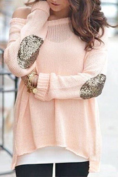 Elbow Patchwork Irregular Hem Sweater PINK: Sweaters | ZAFUL