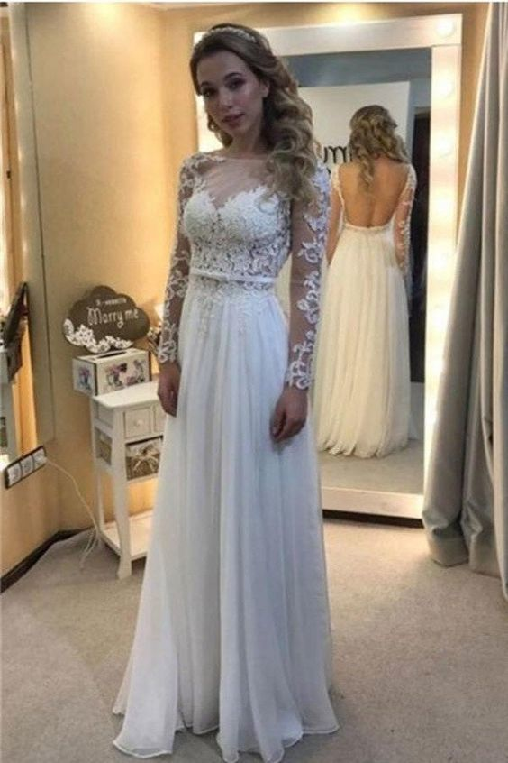 3b4f7729936 White Lace Chiffon Backless A-line Long Prom Dresses With Sleeves by  PrettyLady, $184.30 USD