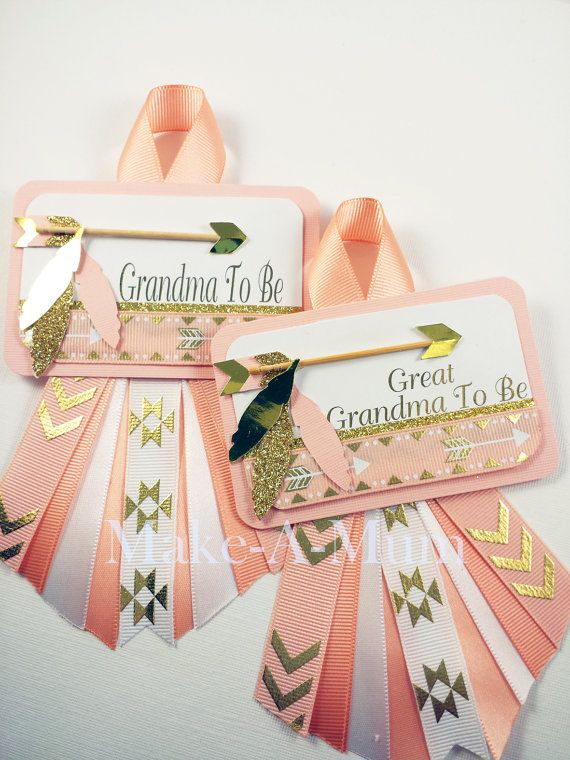 Tribal, Baby Shower corsage, Boho Chic Baby shower,Grandma To Be Pin, girl Baby…
