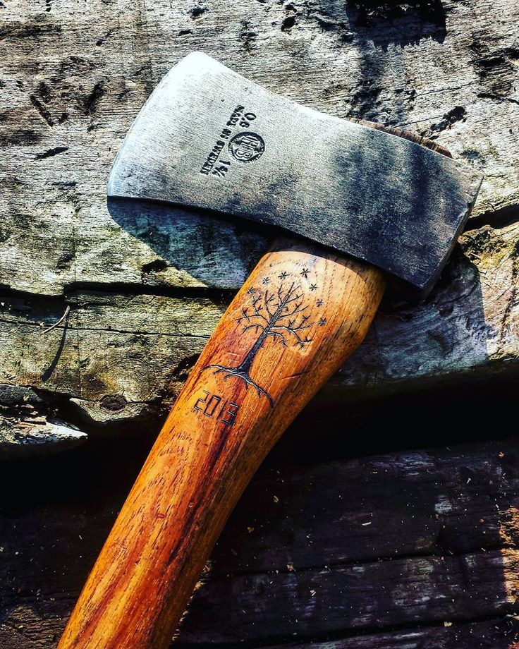 «Gondor tree on my lovely hatchet! #hultafors #woodcarving #axe #hatchet…