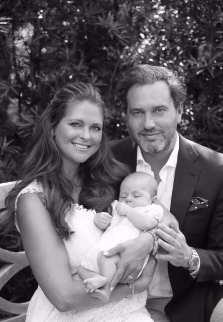 royalwatcher:  Princess Madeleine posted a picture of her family on Facebook-Princess Madeleine with daughter Princess Leonore and husband Chris O'Neill.  Leonor will be christened, in the same gown worn by her grandfather and mother, on June 8, 2014, at  Drottningholm Palace Church, with a reception to be hosted afterwards by King Carl Gustaf and Queen Silvia.