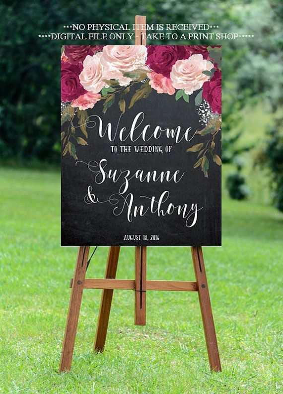 burgundy wedding sign, burgundy welcome sign, welcome wedding sign, digital…