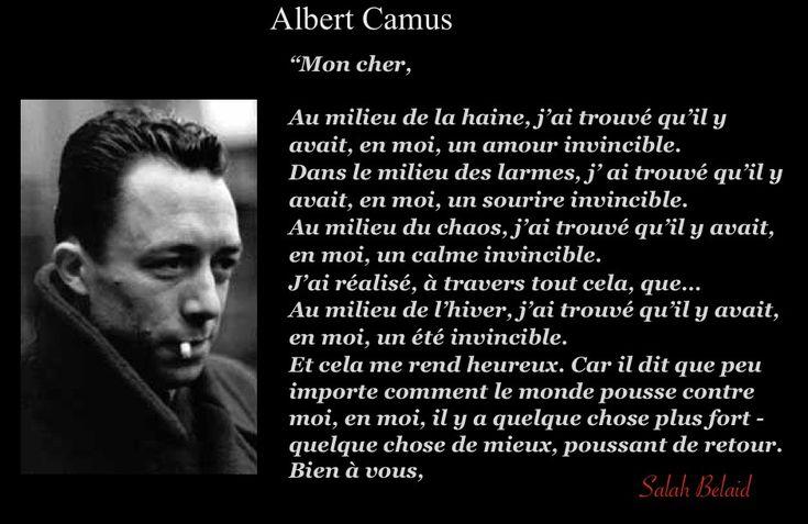 La Pensée Du Jour: Au milieu de la haine (Albert Camus )