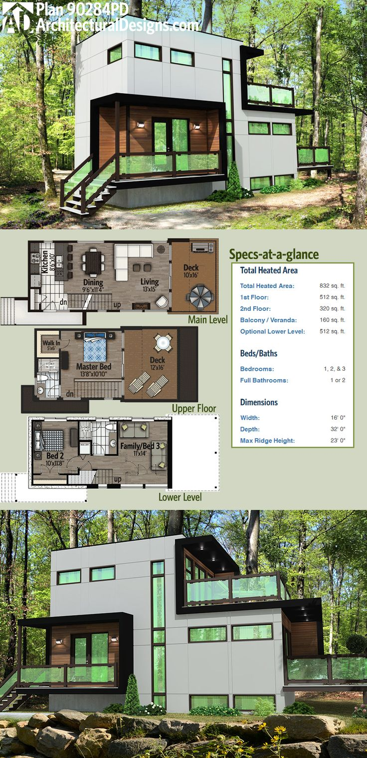 Modern House Plan 90284PD has a master bedroom on the top level with a private deck. The main floor has a deck as well and the optional lower level gives you a bedroom and a flex room that can serve as a family room or a third bedroom. 832 square feet if you don't finish the lower level. : Architectural Designs