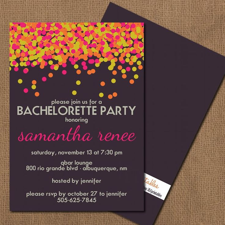 Kate Spade Inspired Neon Confetti Bachelorette Party Invitation. $12.00, via Etsy.