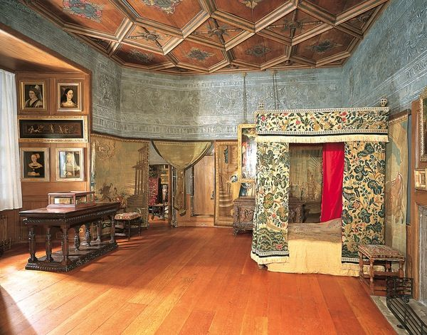 Mary Queen of Scots room at Holyrood.-steps in this room lead to apt. of the Duke of Hamilton, the hereditary keeper of Holyrood Castle and to the Royal Apt.