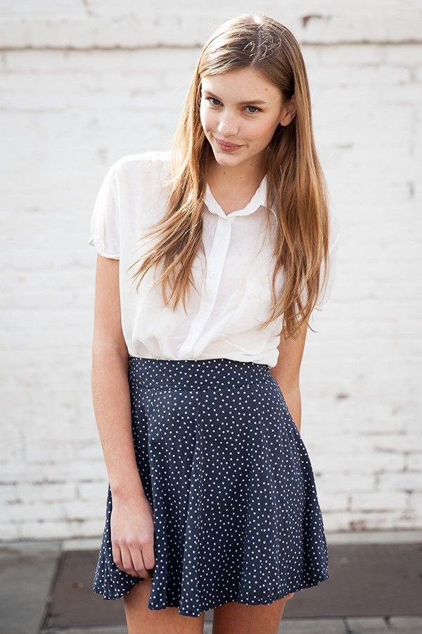 Polka dots blue skirt with white shirt - simple and beautiful