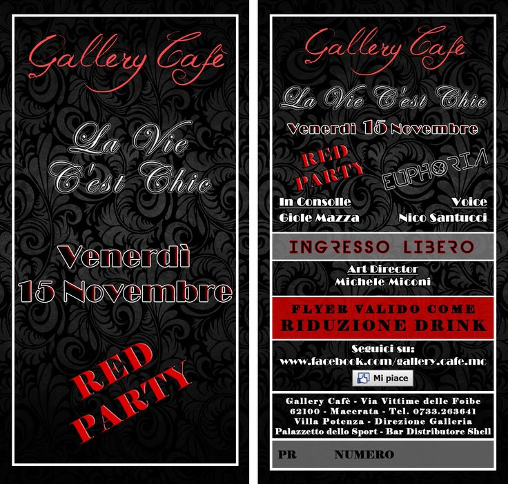 """Dopo la piacevole serata di Venerdì 8 Novembre.. Il Gallery Cafè, in collaborazione con EUPHORIAeventi, è lieta di presentare la sua prossima serata con """"RED PARTY"""".. indossa qualcosa di rosso e lasciati trasportare dall'emozioni e dai suoi delicati cocktail.  ---> Una Serata Ricca di Divertimento e di Buona Musica.. Mi Raccomando.. Vienici a Trovare !!! --->"""