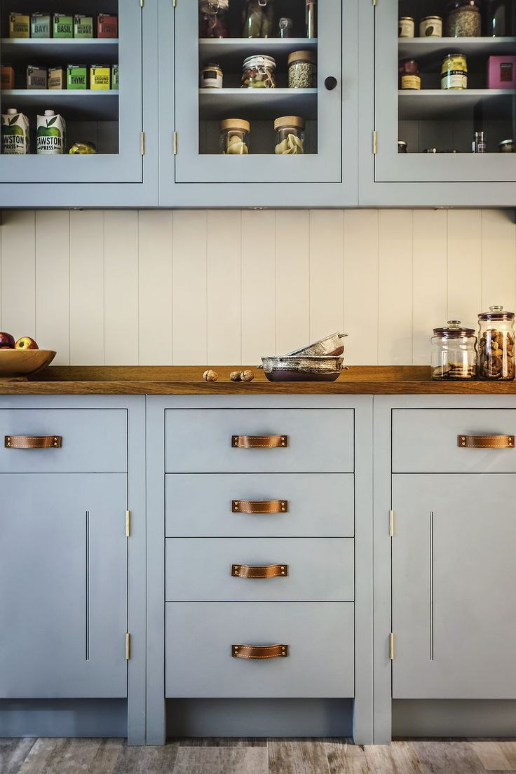British Standard Kitchen inspired by Scottish arts and crafts featuring vegetable tanned bridle leather handles.