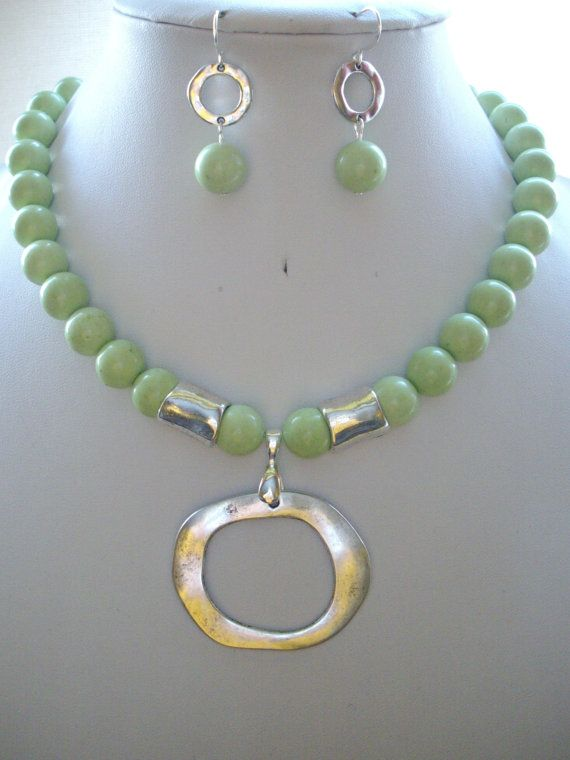 Soft Lime Green Jasper Bead Necklace with by DesignsbyPattiLynn, $60.00. Try with cone beads???