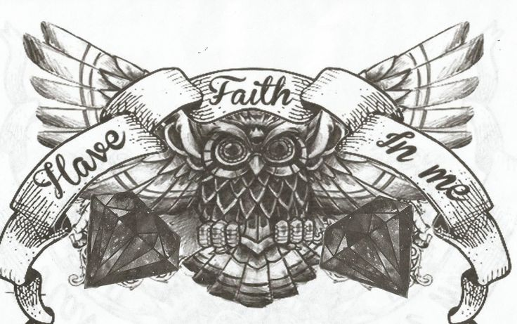 owl chest tattoo desing