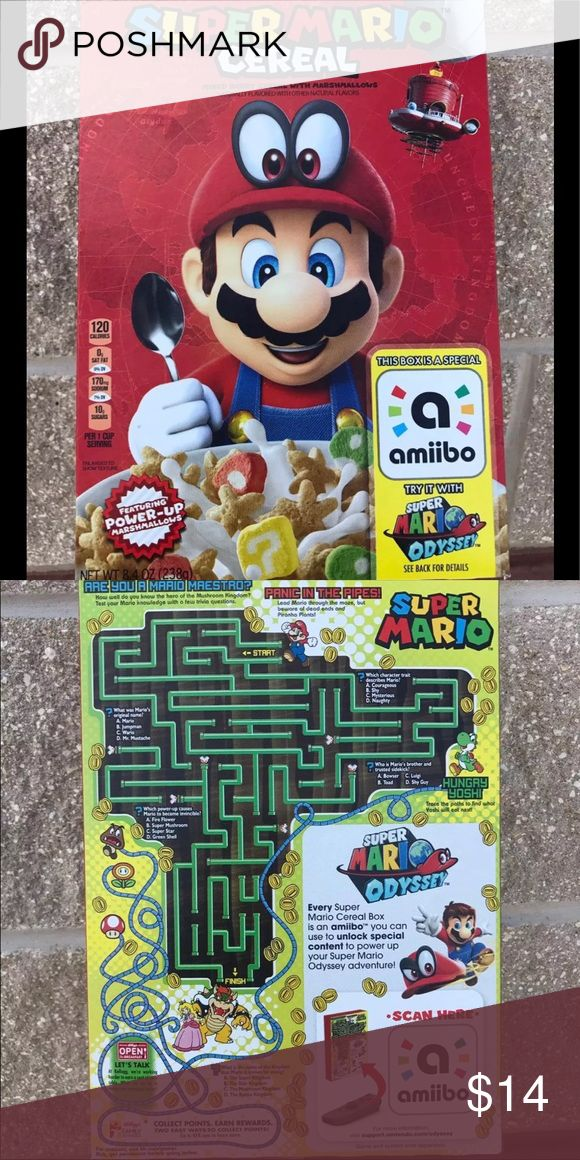 Super Mario Cereal Limited Edition Kellogg's and Nintendo bring you Super Mario Cereal.  In addition to the collectible Super Mario Odyssey box art, each Super Mario Cereal box functions as an amiibo accessory, making breakfast a more playful experience.  Cereal is mixed berry with marshmallows (8.4 oz) Expiration October 25, 2018 Other