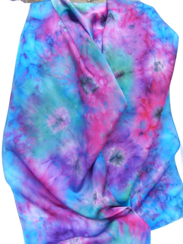 Hand painted Silk Scarf. Soft colours yet still vibrant.