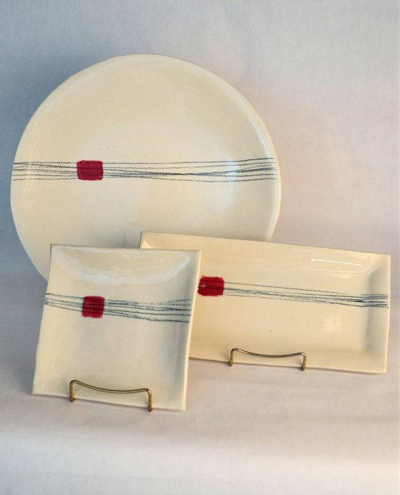 Small Square White Plate with Red Rectangle and Black Pencil Lines on Etsy, $29.85