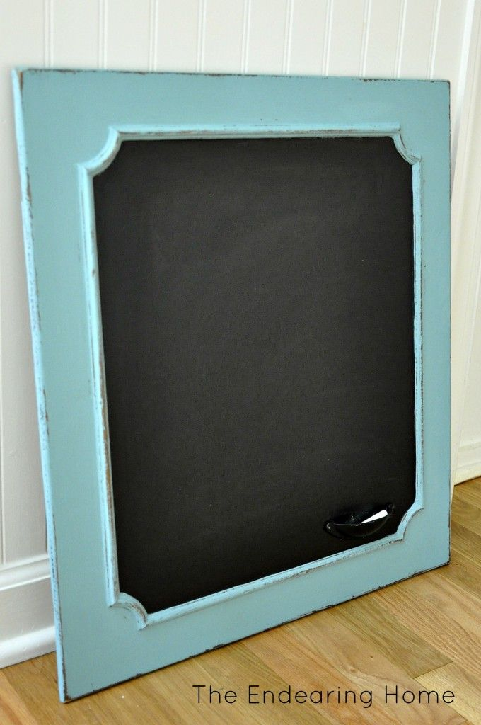 Turn an Old Wood Cabinet Door Into a Chalkboard.. could get them from restore! Also use whole cabinets to make a desk or storage or closet and mud room organization... even a window seat!