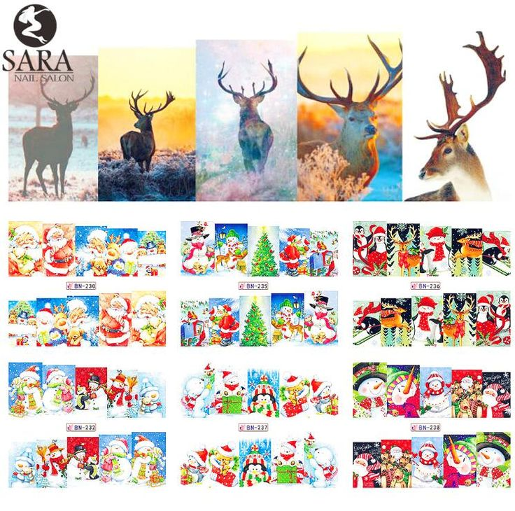Nagelsalon 1 stks Watermerk Stickers DIY Nail Decals Water Transfer Sneeuwpop Elanden Cartoon Kerst Ontwerpen Manicure SABN229-240