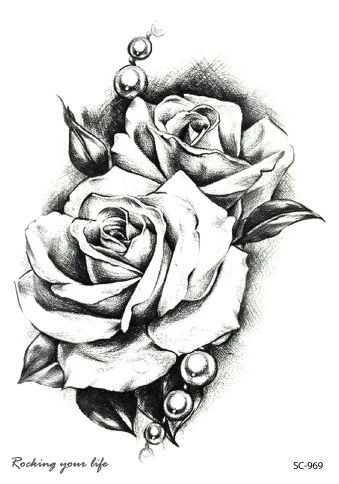 c6f18c50c Rocooart New Sketch Rose Waterproof Fake Tattoo Taty For Women Men  Temporary Tattoo Sticker Back Arms Flash Tatoo Henna Tatuaje. Ye…