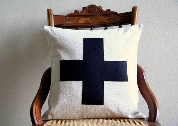 black swiss cross throw pillow cover  / 16 door SassyStitchesbyLori