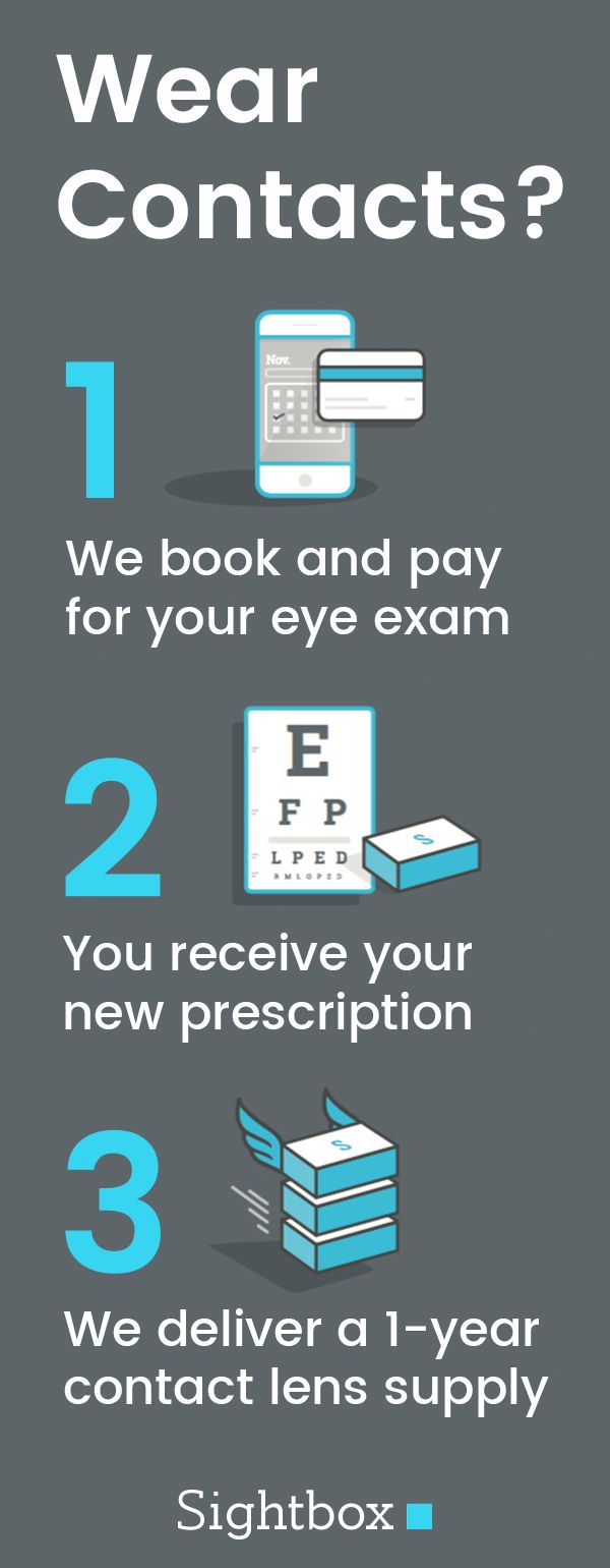 Wear contacts? We book and pay for your eye exam, then deliver a 1-year supply of contact lenses. Color and astigmatism lenses included!