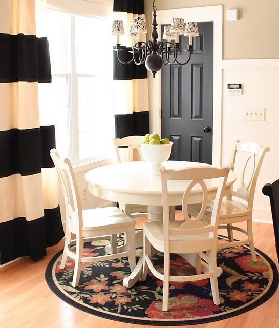black interior doors: Dining Rooms, Breakfast Nooks, Black Doors, Black And White, Black Interiors Doors, Window Treatments, Stripes Curtains, Yellow Capes Cod, Round Tables