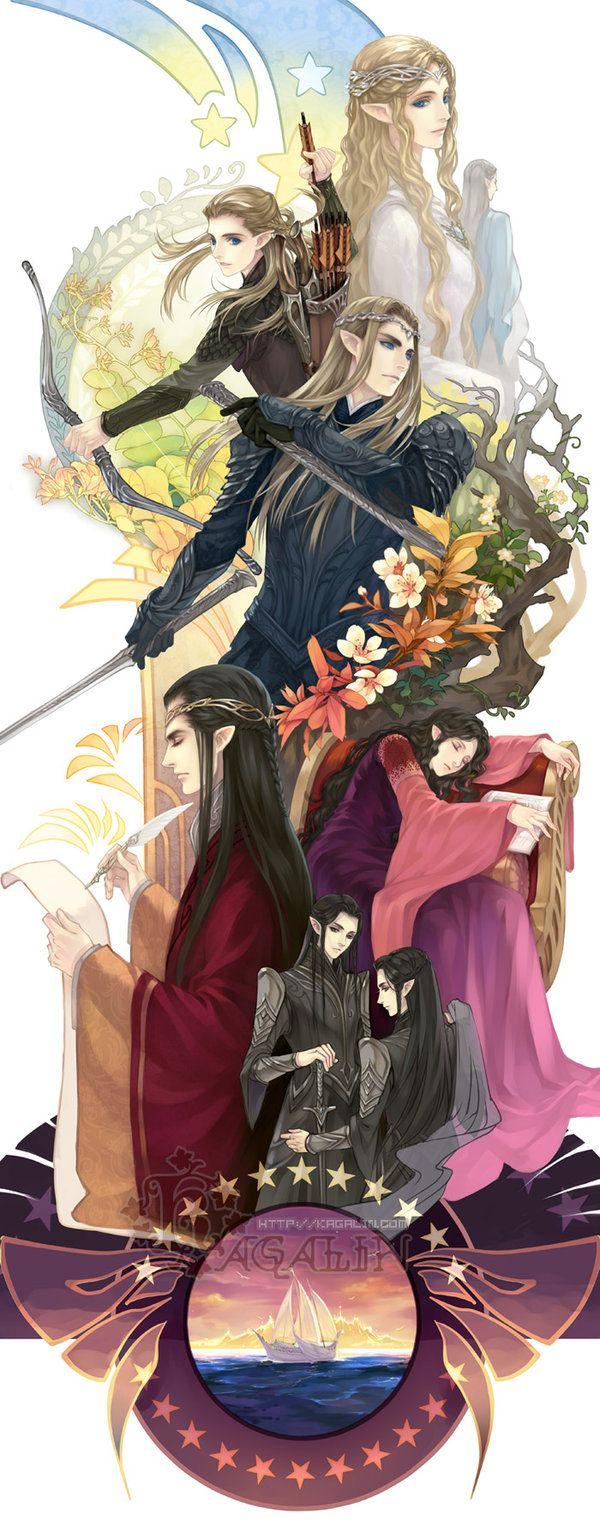"Elves by kagalin - ""Galadriel, Celeborn,Legolas, Thranduil, Elrond, Arwen, Elladan and Elrohir(LOTR)"""
