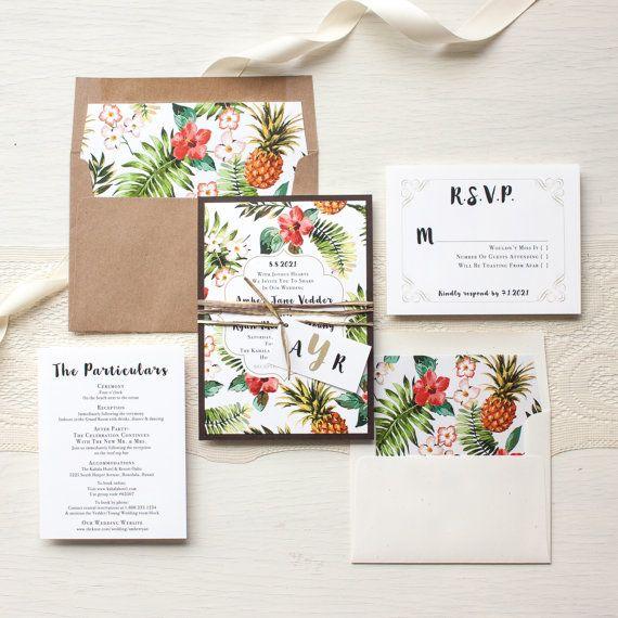 Tropical Pineapple Wedding Invitations Destination by BeaconLane