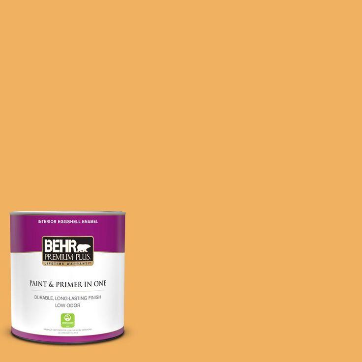 BEHR PREMIUM PLUS 1 qt. #PMD-74 Sweet Honey Eggshell Enamel Low Odor Interior Paint and Primer in One