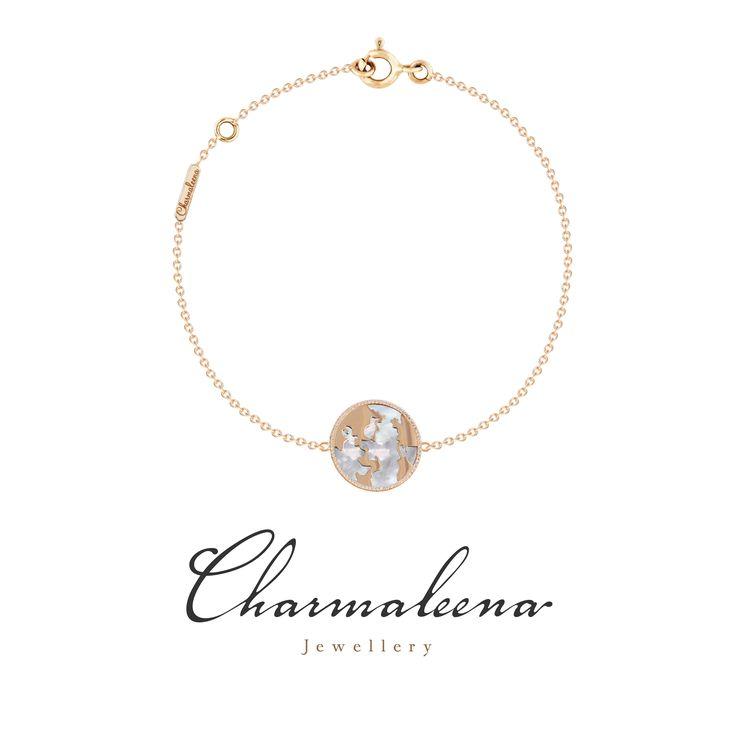 My World Bracelet Framed in Diamonds- White Mother of Pearl in Yellow Gold.. #world  #diamond #Bracelet #jewellery  #mycharmaleena #charmaleena #finejewellery  #YellowGold   #jeddah #riyadh #ksa #saudi #saudiarabia #Dubai #online #جدة  #السعودية  #دبي #الرياض