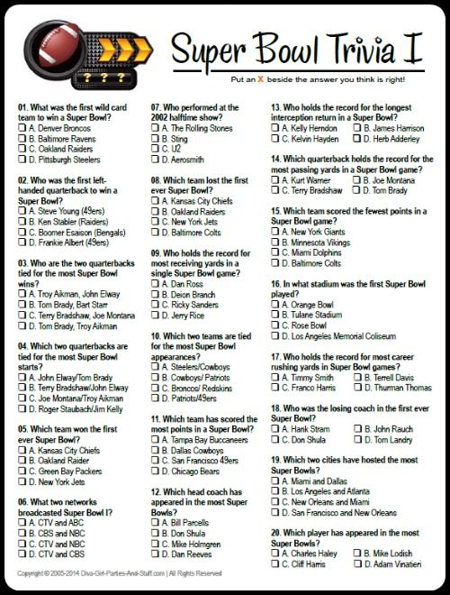 Free Printable Multiple Choice Super Bowl Trivia. Game download and answers at Diva Girl Parties and Stuff.  #superbowlparty
