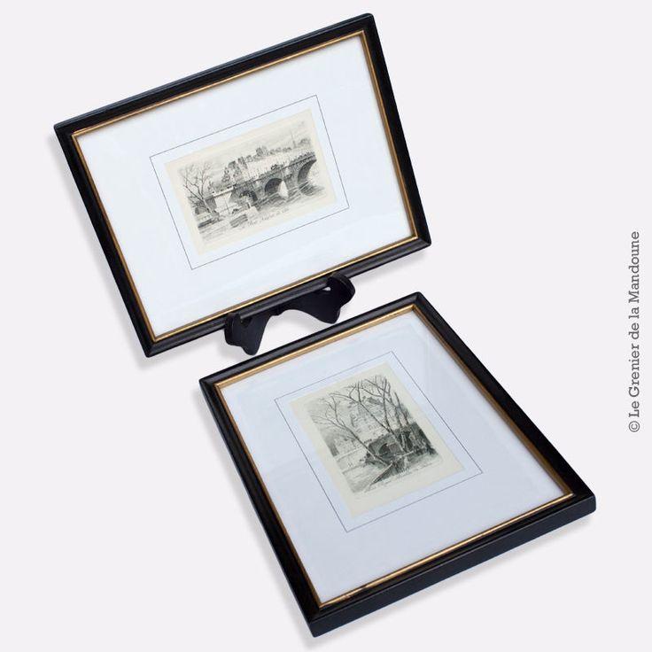 2 Gravures à l eau-forte de Charles PINET (1867 / 1932) encadrées