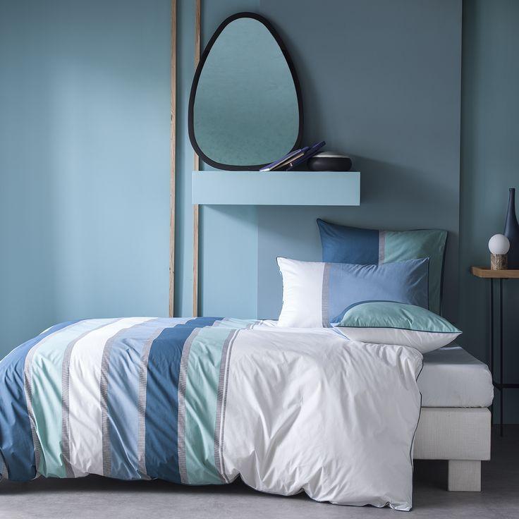 Linge de lit en percale de coton Tendance rayures bleu acier, vert d'eau et orage.