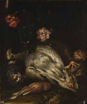 """""""Bodegón de flores, aves y vaso de cristal"""", Anónimo (Estilo de Giuseppe Recco), Siglo XVII"""